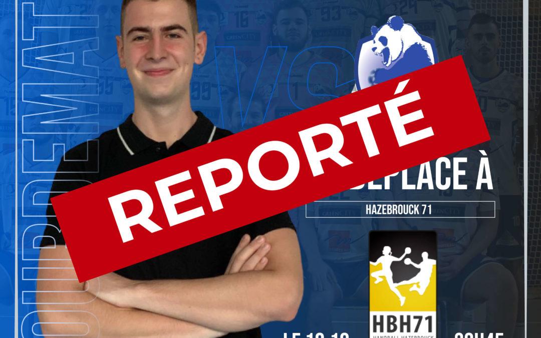 Communiqué suite au report du match du 10 Oct. 2020