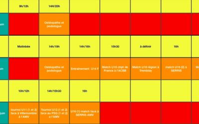 Planning du Week-end des 18, 19 & 20 Juin