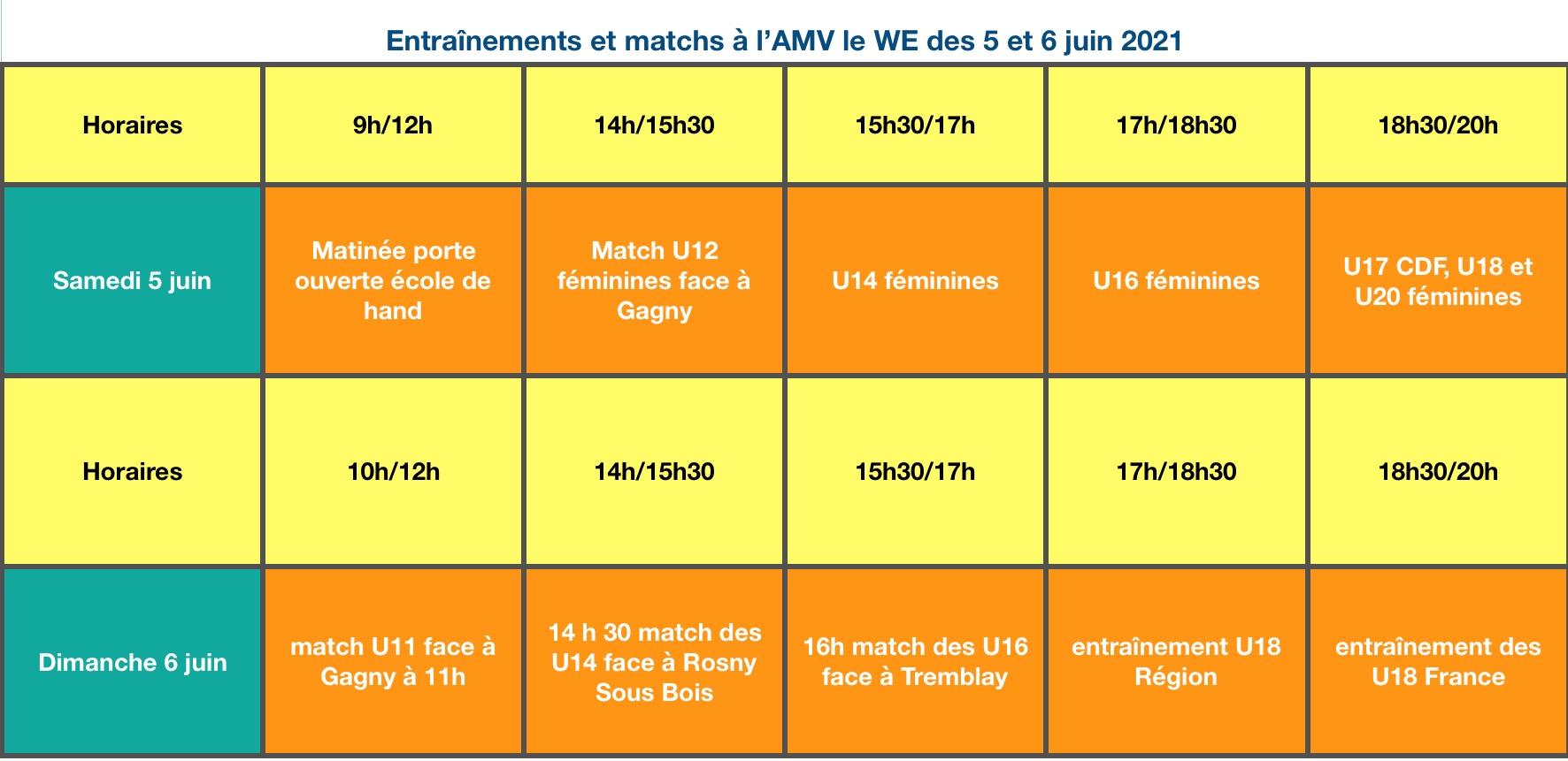 Planning 5 & 6 Juin
